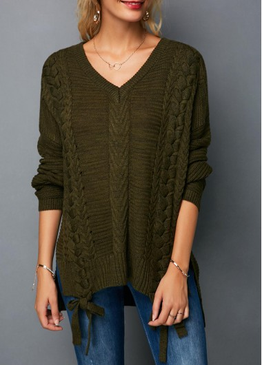 V Neck Bowknot Detail Army Green Knitting Sweater