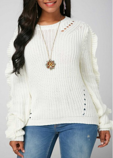 White Round Neck Long Sleeve Open Knit Sweater