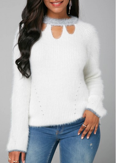 Cutout Front Long Sleeve White Faux Mohair Sweater