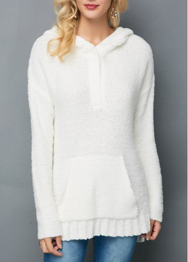 Hooded Collar Side Slit Kangaroo Pocket White Sweater