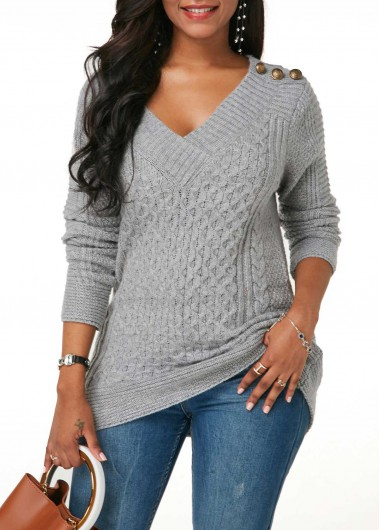 V Neck Button Detail Cable Knit Grey Sweater
