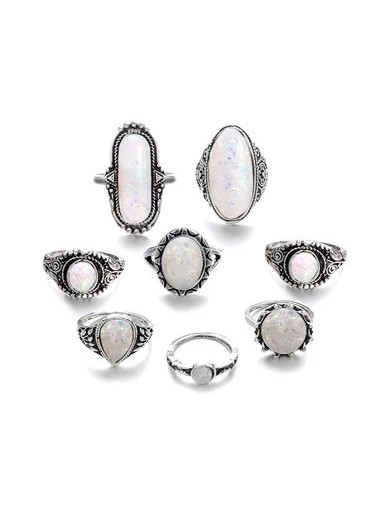 White Rhinestone Decorated Silver Metal Ring Set