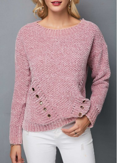 Metal Eyelet Embellished Long Sleeve Sweater