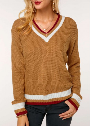V Neck Long Sleeve Striped Knitting Sweater