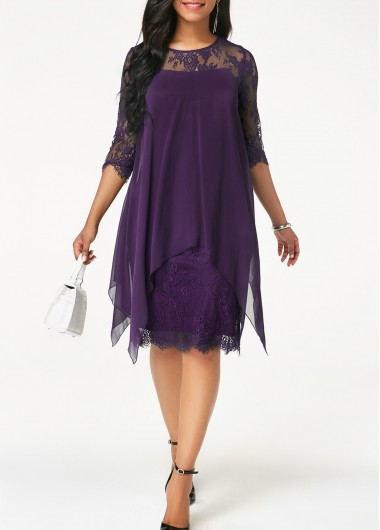 Purple Lace Panel Chiffon Overlay Shift Dress Round Neck Chiffon Overlay Lace Dress - L