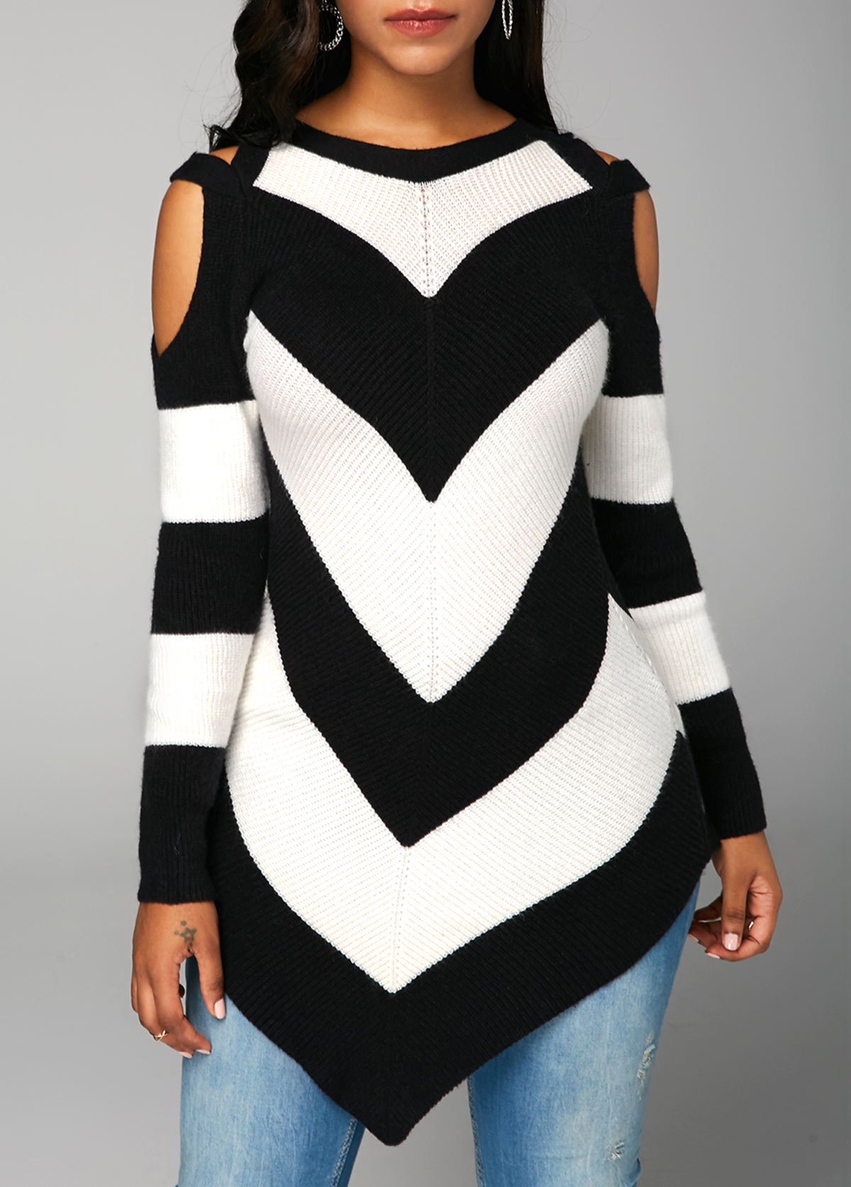 Cold Shoulder Chevron Pattern Long Sleeve Sweater