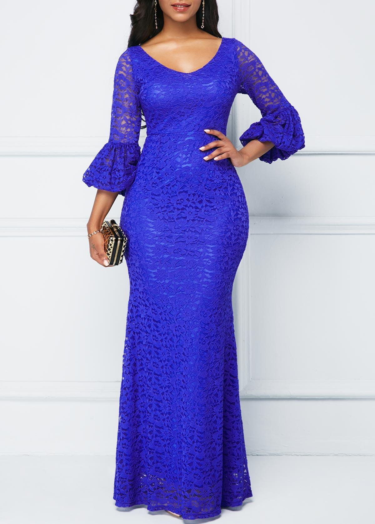 Royal Blue V Neck Lace Dress