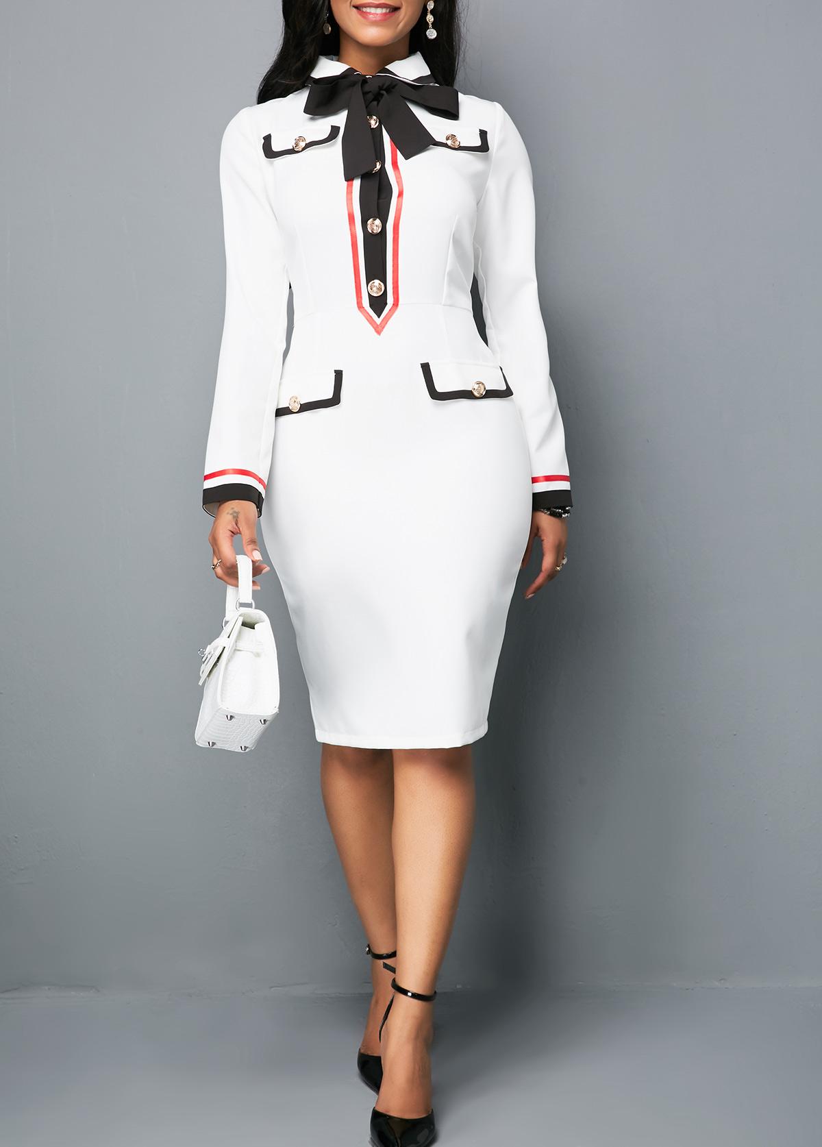 Long Sleeve Button Front White Sheath Dress