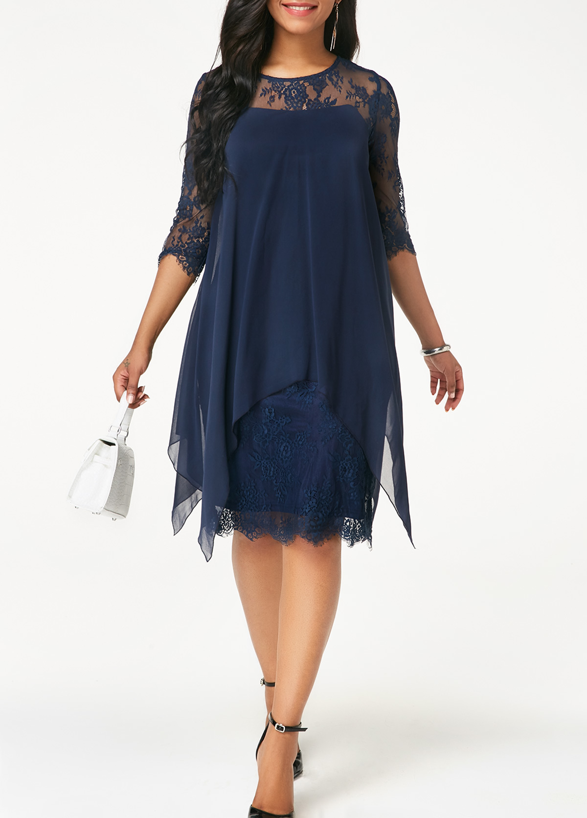 Navy Blue Three Quarter Sleeve Chiffon Overlay Lace Dress