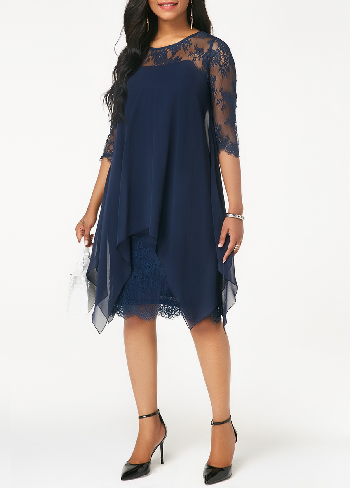 a962f779b2f Navy Three Quarter Sleeve Chiffon Overlay Lace Dress