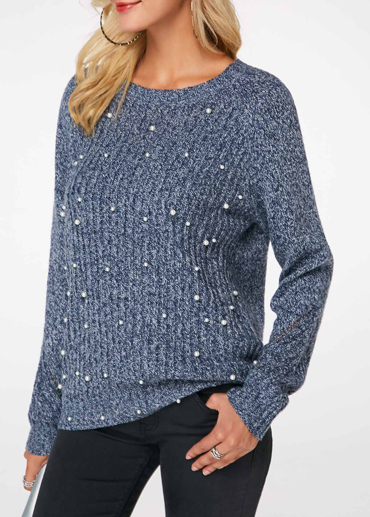 Faux Pearl Embellished Dusty Blue Round Neck Sweater