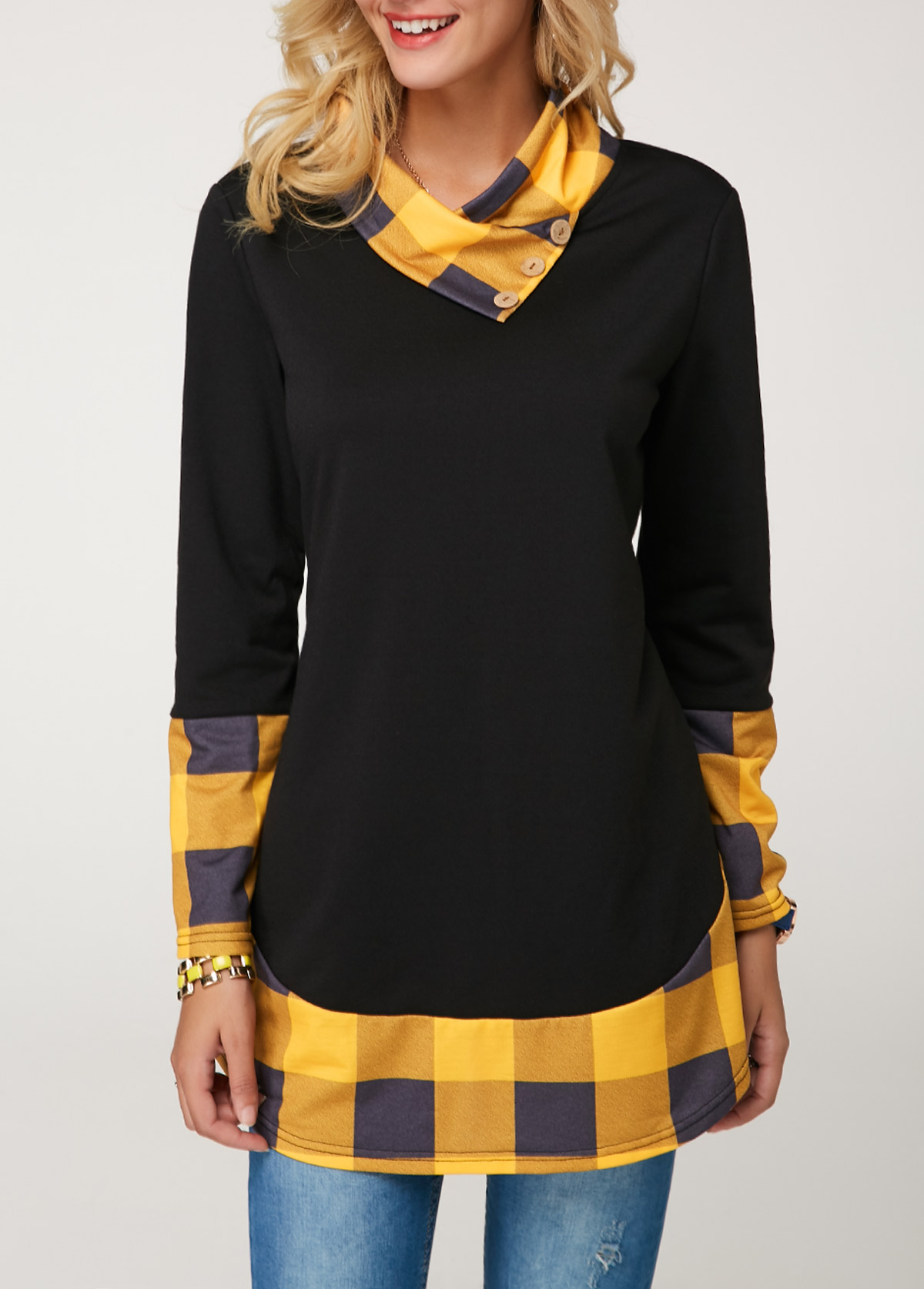 Plaid Print Button Detail Tunic T Shirt