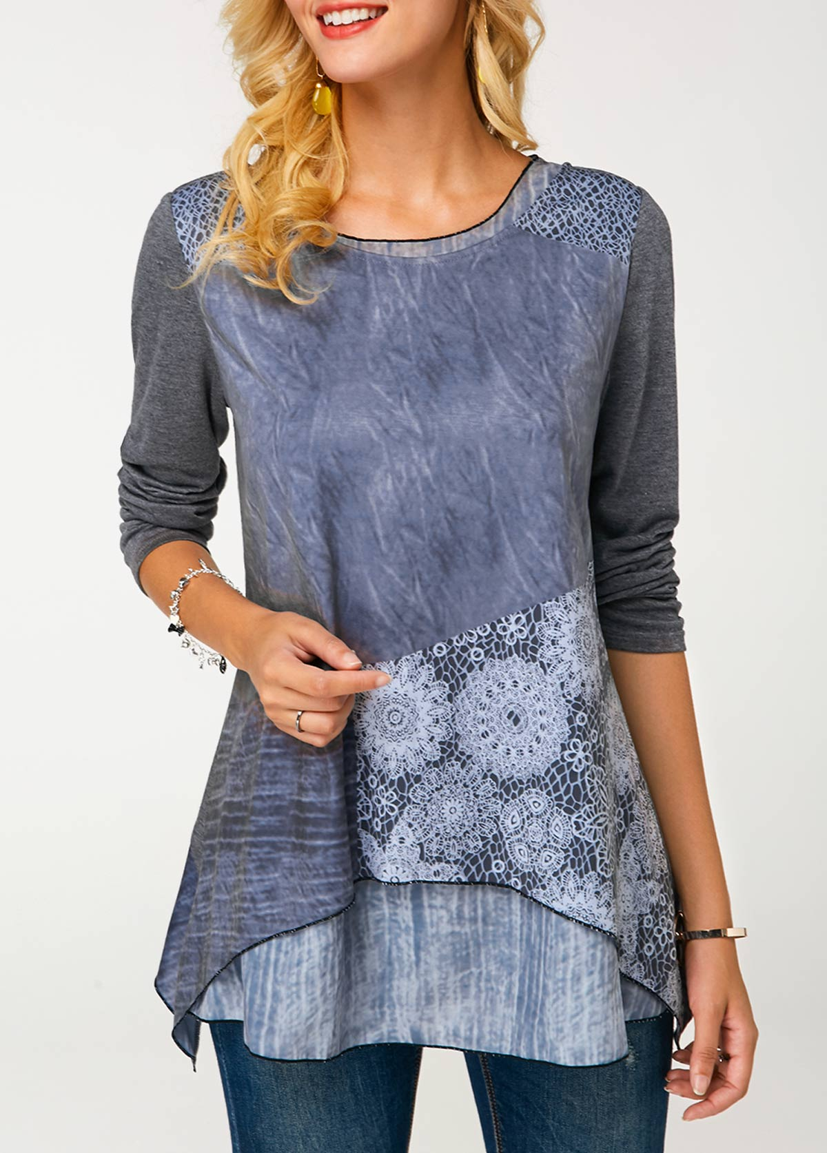 Crew Neck Long Sleeve Printed Layered Tunic T Shirt