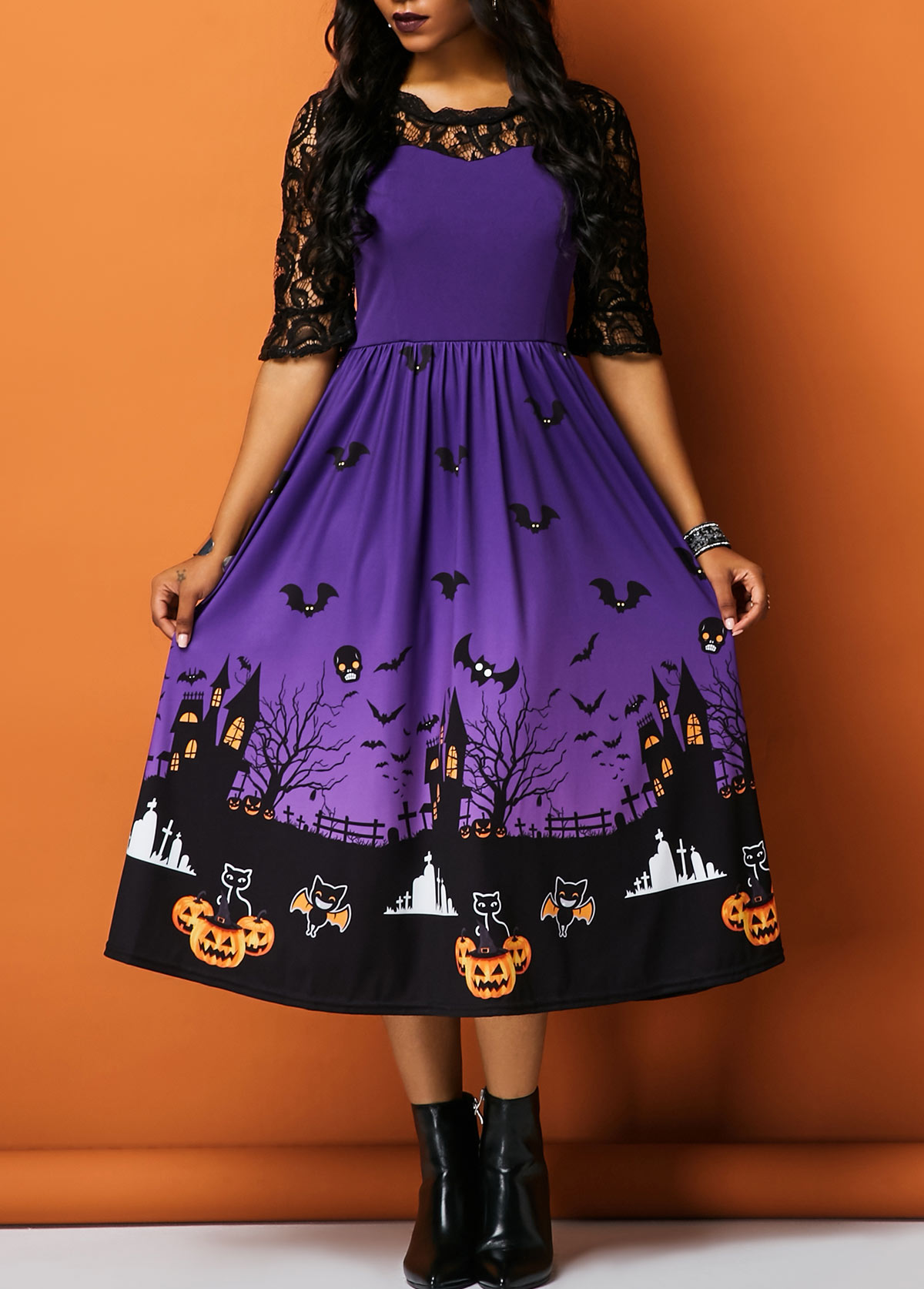 Lace Panel Half Sleeve Printed Halloween Dress