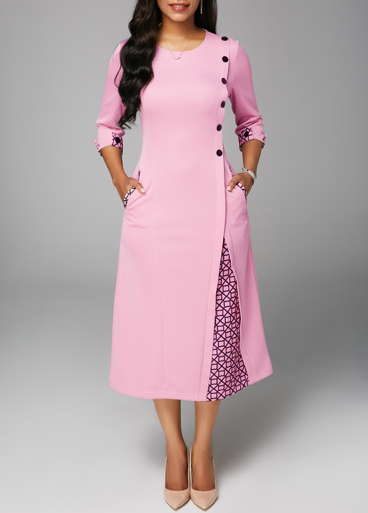 Three Quarter Sleeve Round Neck Dress