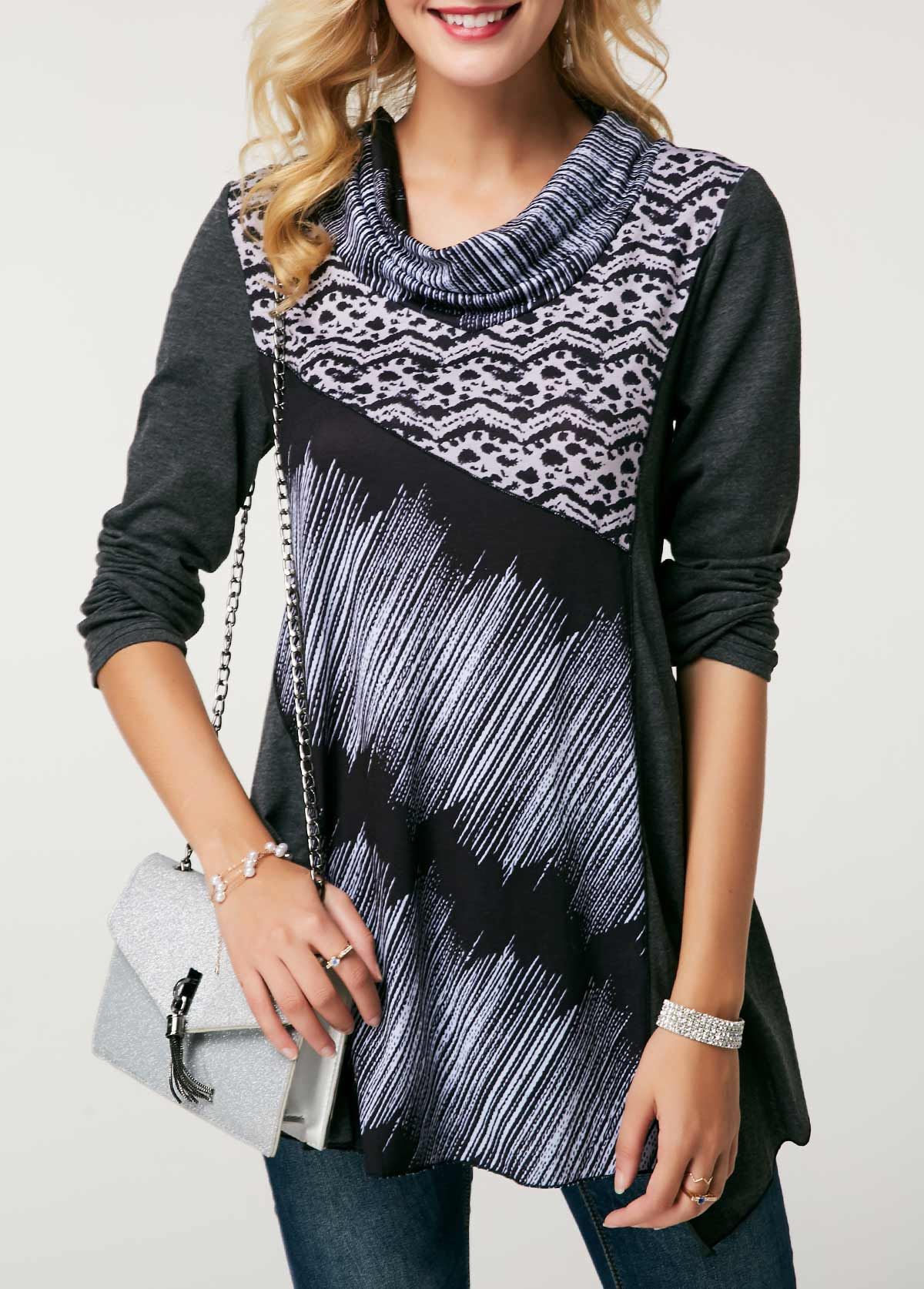 Cowl Neck Long Sleeve Printed Blouse