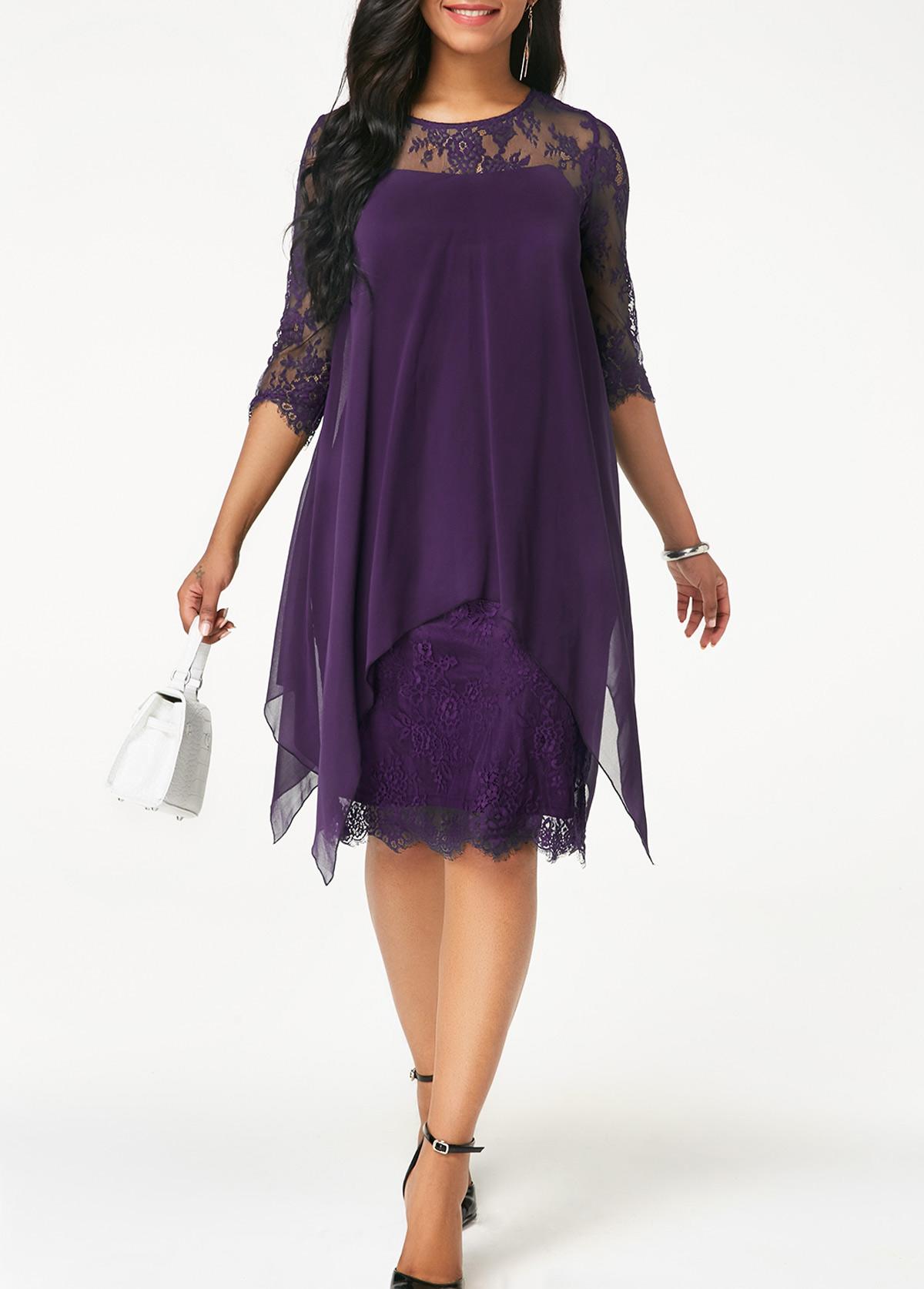 Round Neck Chiffon Overlay Lace Dress