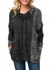 Cowl-Neck-Drop-Shoulder-Dark-Grey-Drawstring-Sweatshirt