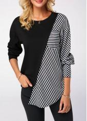 Striped-Long-Sleeve-Round-Neck-Black-Sweatshirt