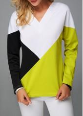 V-Neck-Long-Sleeve-Color-Block-Sweatshirt
