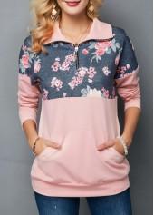Kangaroo-Pocket-Drop-Shoulder-Flower-Print-Sweatshirt