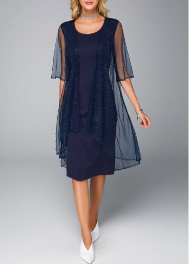 Mesh Cardigan and Sleeveless Navy Blue Dress