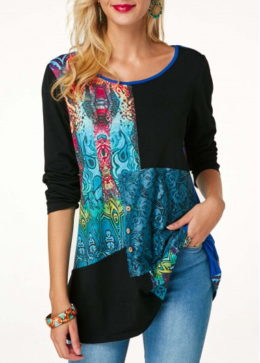 Lace Panel Long Sleeve Printed Button Detail Blouse