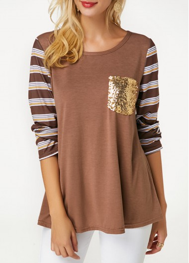 Women's Brown Striped Sleeve Casual Shirt - M