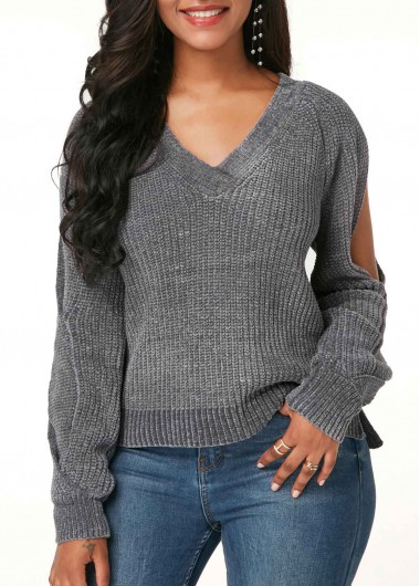 Long Sleeve V Neck Grey Sweater
