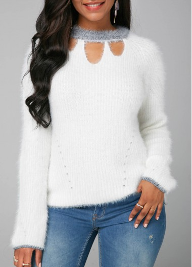 Women's Womens White Sweater Cutout Front Long Sleeve White Faux Mohair Sweater - M