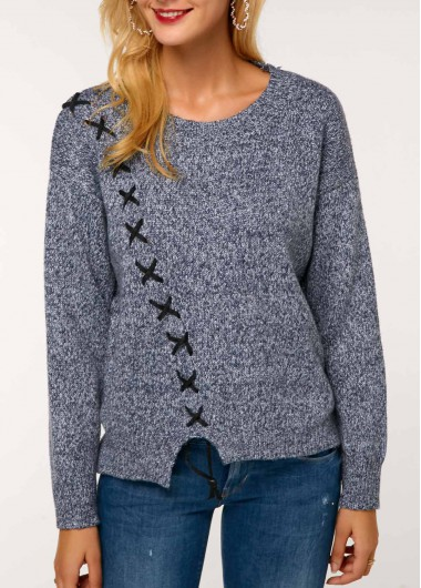 Long Sleeve Round Neck Grey Contrast Stitch Sweater
