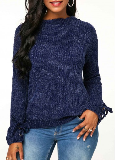 Lace Up Detail Long Sleeve Sweater