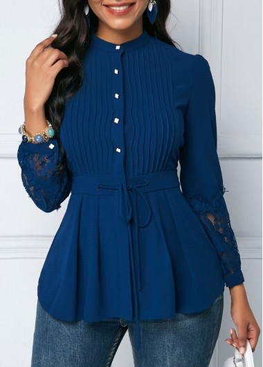 Crinkle Chest Lace Panel Navy Blue Peplum Blouse
