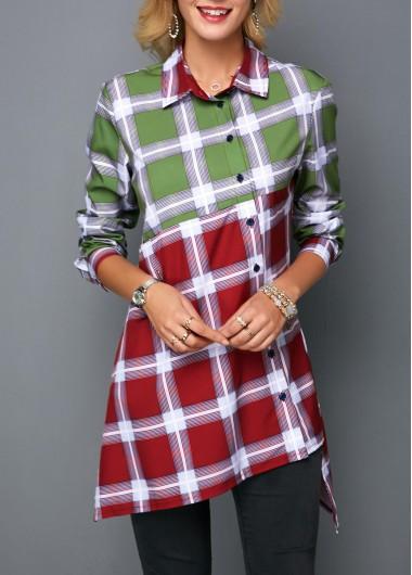 Women's Color Block Plaid Print Button Front Shirt - M