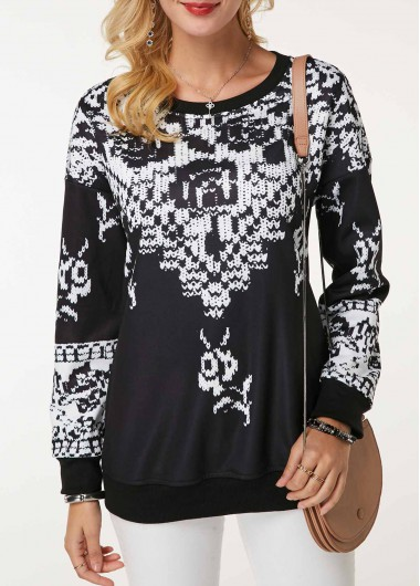 Round Neck Long Sleeve Printed Sweatshirt - M