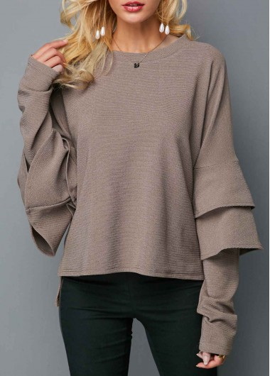 Layered Bell Sleeve Round Neck Light Coffee Sweater