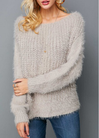 Boat Neck Long Sleeve Light Grey Knitting Sweater