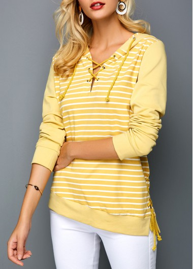 Lace Up Front Striped Yellow Hoodie