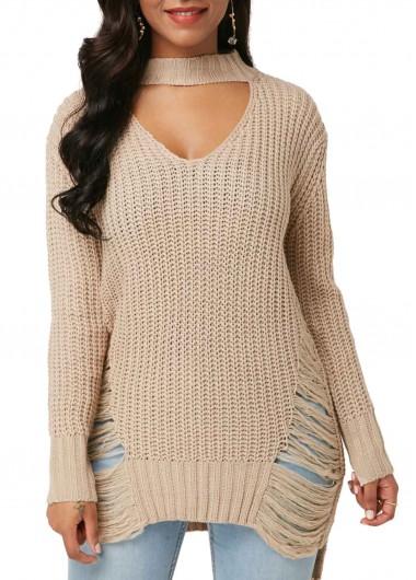 Women's Choker Neck Khaki Casual Pullover Sweater - XXL