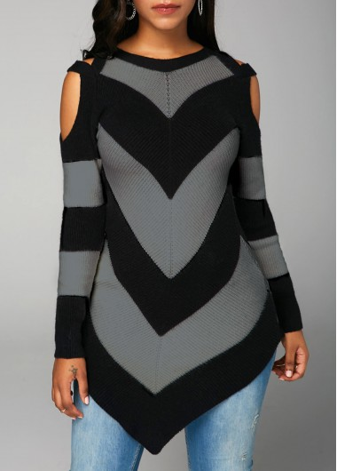 Asymmetric Hem Long Sleeve Black Sweater