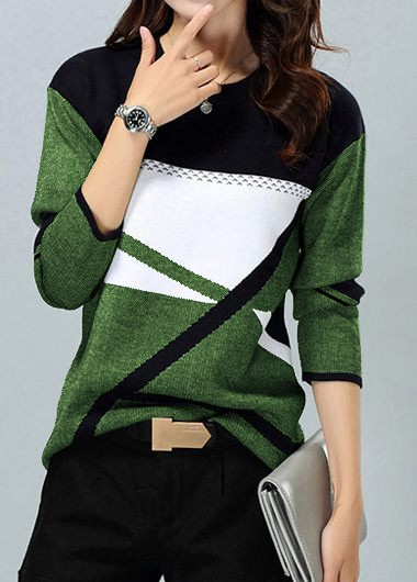 Women's Long Sleeve Color Block Fashion Sweater - L