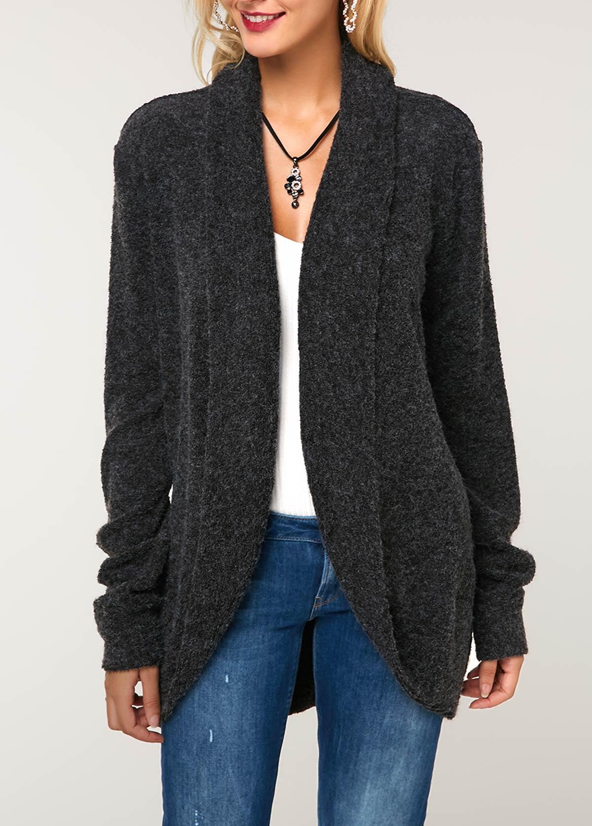 Long Sleeve Dark Grey Curved Hem Knitting Cardigan