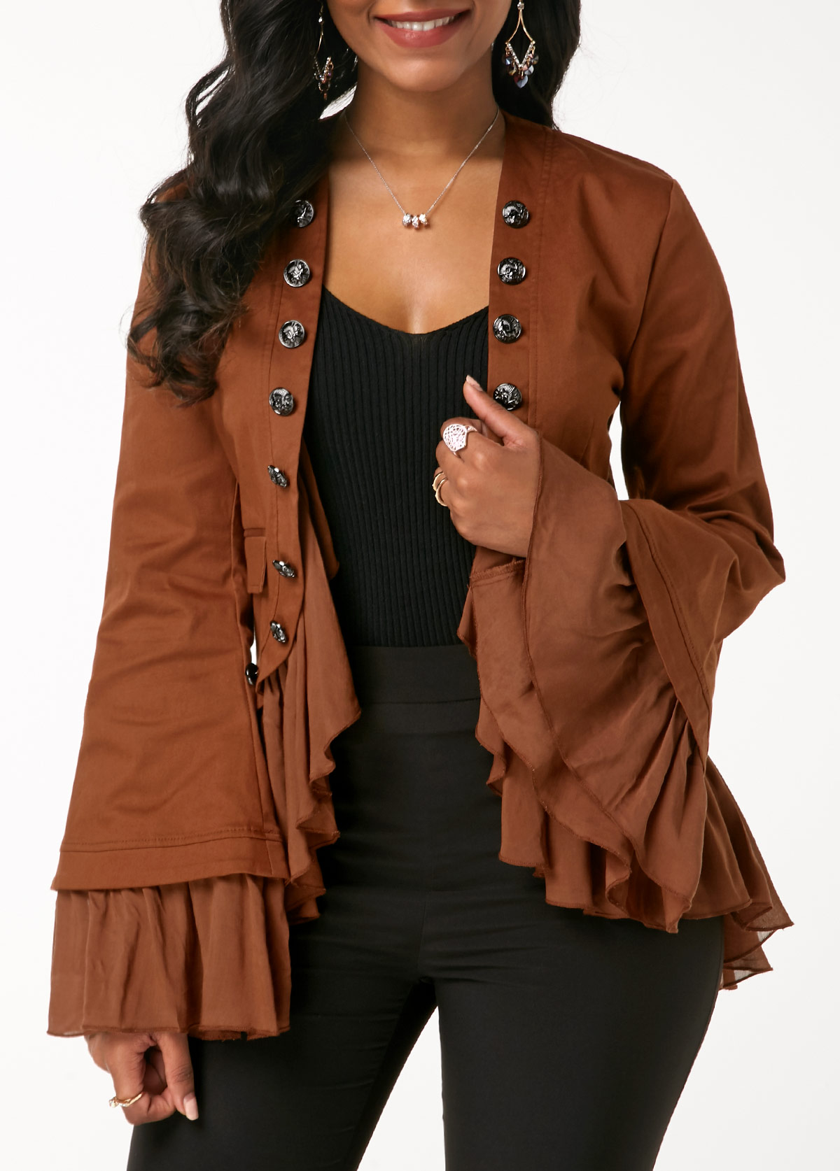 Flare Sleeve Ruffle Hem Button Embellished Jacket