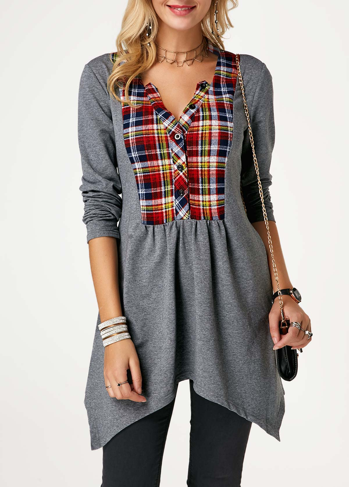Plaid Print Asymmetric Hem Tunic T Shirt