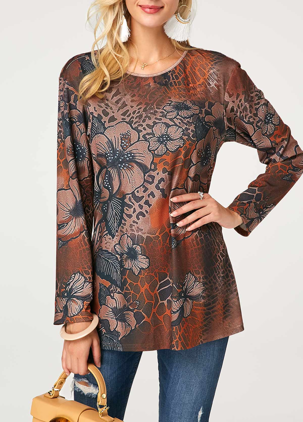 Round Neck Printed Long Sleeve Blouse