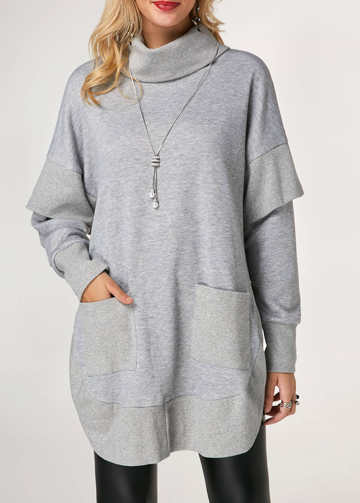 Turtleneck Long Sleeve Pocket Side Slit Sweatshirt