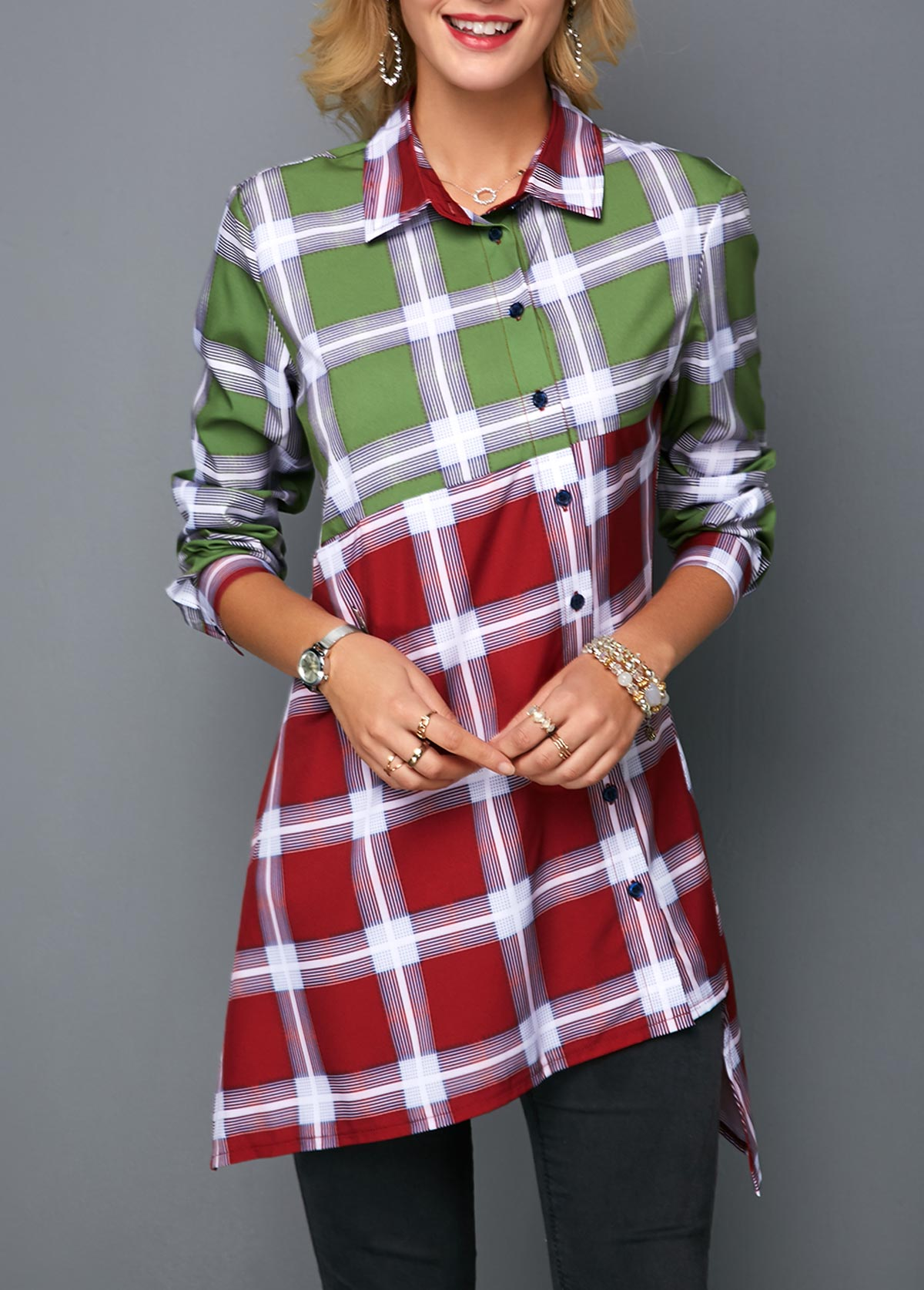 MODLILY DESIGNAsymmetric Hem Button Front Plaid Print Shirt