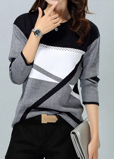 Dark Grey Round Neck Geometric Pattern Sweater