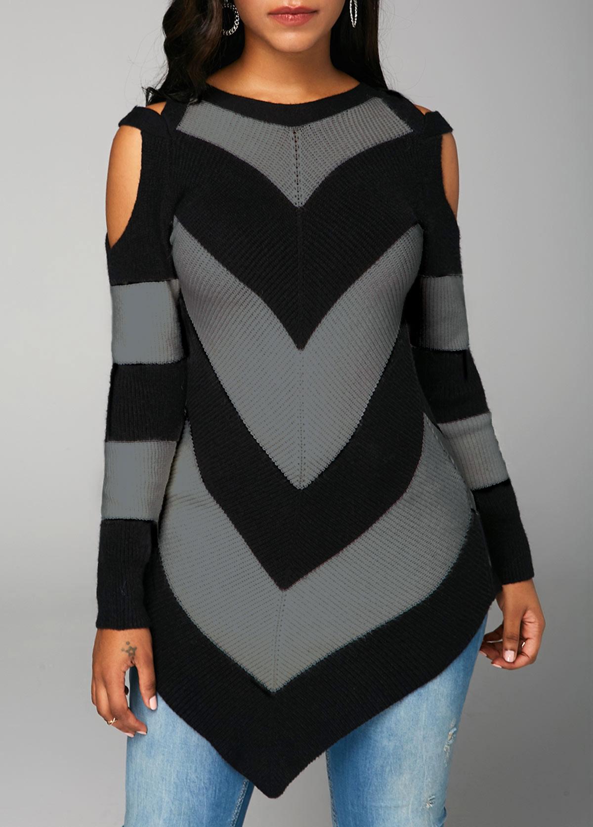 Asymmetric Hem Long Sleeve Black Sweater