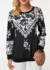 Round-Neck-Long-Sleeve-Printed-Sweatshirt